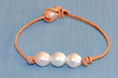 Freshwater Pearl and Leather Bracelet/Pearl by BonafideBeads