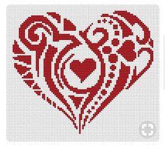 Coeur Cross Stitch Letters, Cross Stitch Heart, Counted Cross Stitch Patterns, Cross Stitch Designs, Cross Stitch Embroidery, Embroidery Patterns, Quilt Patterns, Heart Quilt Pattern, Heart Patterns