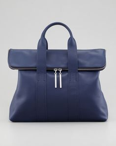 3.1 Phillip Lim 31-Hour Fold-Over Tote Bag, Navy - Neiman Marcus.