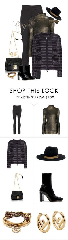 """""""Bronzed"""" by jacque-reid ❤ liked on Polyvore featuring Avant Toi, Moncler, Janessa Leone, Oscar Tiye, Lizzy James, Fendi and Gucci"""