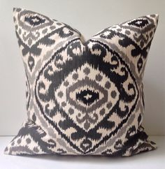 Ikat Pillow Cover Black Gray Pillow Decorative Throw by nestables