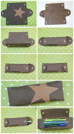 FREE studio file pencil cases working with leather and the silhouette Mondbresal: Tried: SnapPap - the vegan leather - with a Plotterfreebie Good Day Sunshine, Diy Couture, Pen Case, Bijoux Diy, Leather Projects, Leather Working, Leather Craft, Vegan Leather, Diy And Crafts