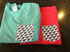 Elephant Check Pocket Long Sleeve Tees