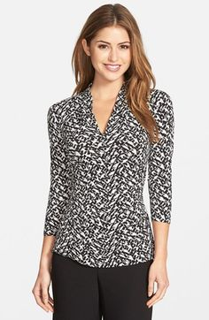 Free shipping and returns on Vince Camuto Print Pleated V-Neck Top (Regular & Petite) (Nordstrom Exclusive) at Nordstrom.com. A graphic black-and-white print signals a new season for a fitted stretch-knit top styled with a pleated V-neckline, three-quarter sleeves and ruching along the sides.