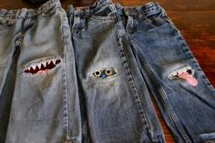 Monster Knee Patches .. have to try now.  Now I can't wait for my kids to get holes in their knees! (Not Really)