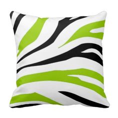 Black and Lime Green Zebra Stripes Print Pillow - Green Throw Pillows *Fresh inventory added to site, visit www.prettythrowpillows.com to see all of our green throw pillows