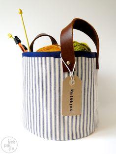 DIY: fabric + leather storage basket
