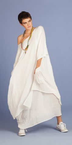 Yiannis Karitsiotis Ecru Crush Oversized Dress
