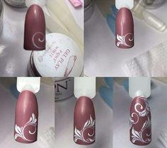 No photo description available. Nail Art Hacks, Gel Nail Art, Nail Art Diy, Nail Manicure, Acrylic Nails, Nails & Co, Diy Nails, Hair And Nails, Nail Art Arabesque