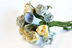 Hand Crafted Creamy Yellow and Pale Blue Everlasting Sculpted Fabric Flower Bouquet - Wedding Bouquet for Bridal or Gift