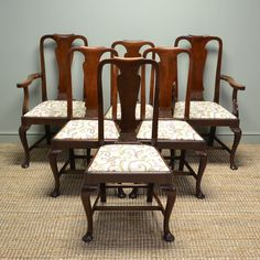 Quality Set of Six Cuban Mahogany Queen Anne Design Edwardian Dining Chairs