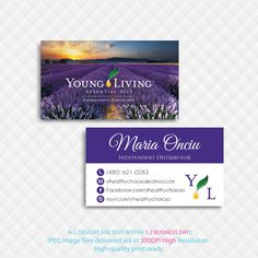 Young Living Business Cards, Personalized Young Living Cards, YL21– ToboArt