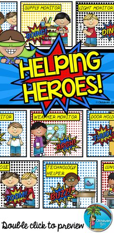 Classroom Jobs: keep track of your helping heroes with this superhero themed classroom jobs display. The accompanying name labels include editable text boxes. You can therefore create labels for all of your students and change the font/color/size to your own particular preference. $
