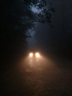 Dark creepy road, car headlights on We Heart It Autumn Aesthetic, Night Aesthetic, Aesthetic Photo, Aesthetic Pictures, Demon Aesthetic, Aesthetic Dark, Creepy Photography, Dark Photography, Halloween Photography