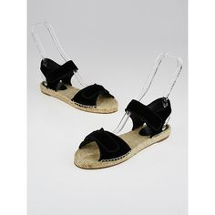 Pre-owned Celine Black Velvet Espadrille Scratch Sandals (3,985 MXN) ❤ liked on Polyvore featuring shoes, sandals, velcro shoes, velcro closure shoes, black espadrilles, summer sandals and black velcro shoes