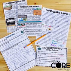 2 paired texts on earthquakes support students to write about their learning from multiple sources. Differentiated text levels for 3-6th