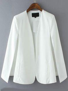 Buy White Long Sleeve Casual Cape Blazer from abaday.com, FREE shipping Worldwide - Fashion Clothing, Latest Street Fashion At Abaday.com