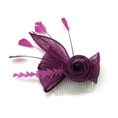 Purple Sinamay Feather Mesh Flower Headpiece Fascinators Hair Comb