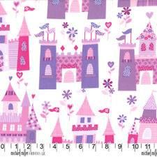 Sew Pretty Baby - pink & purple fairy tale castle fabric