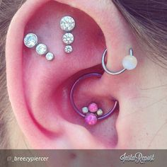 #Daith #piercing by Bree with our new #anatometal gem clusters 3