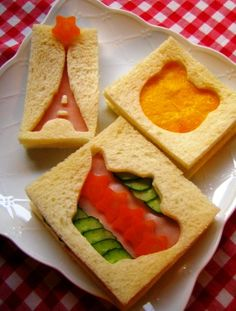 Use cookie cutters to create themed sandwiches - no instructions, inspiration only