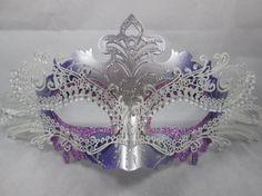 Amazon.com: Elegant Laser Cut Metal Venetian Mask Masquerade Ball Purple/Silver Rhinestone: Clothing