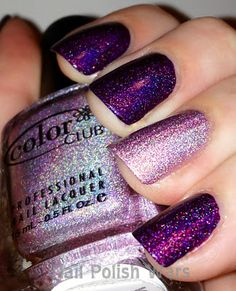Purple & pink sparkle holographic nails