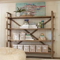 Love this simple yet stylish industrial type shelving unit.
