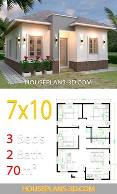 House design Plans with 3 Bedrooms terrace roof - House Plans Simple House Plans, My House Plans, Simple House Design, House Floor Plans, House Design Photos, The Plan, Bungalow Haus Design, Affordable House Plans, House Construction Plan