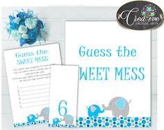 Baby Shower Elephant Baby Shower Africa Candy Taste Nappies GUESS THE SWEET Mess, Party Décor, Paper Supplies - ebl01 #babyshowerparty #babyshowerinvites