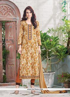 New Arrival Brown Printed Straight Cut Party Wear Unstitched Salwar Suit Indian Salwar Suit, Pakistani Salwar Kameez, Lehenga Choli, Suit Fabric, Designer Salwar Suits, Online Collections, Cotton Pants, Straight Cut, Fashion Pants