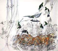 Nicky Thompson - Maui's Cloak Acrylic on Canvas Sheet x Landscape Paintings, Landscapes, Nz Art, Cloak, Artist Painting, Bird Feathers, Contemporary Artists, Moose Art, Mixed Media