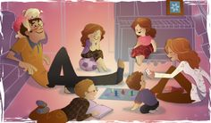 I drew my sister's name for Christmas & she asked for a picture of her family doing things they love. So, I drew them playing candyland I was worrie. Pascal Campion, Family Illustration, Drawing People, Paper Dolls, Art Drawings, Disney Characters, Fictional Characters, Fan Art, Deviantart