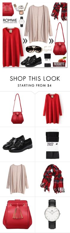 """""""Romwe"""" by anyasdesigns ❤ liked on Polyvore featuring H&M, Hershey's, Chanel, Daniel Wellington, women's clothing, women's fashion, women, female, woman and misses"""