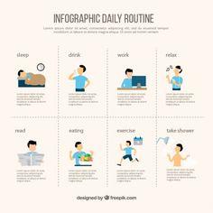 Infografía de rutina diaria Vector Gratis
