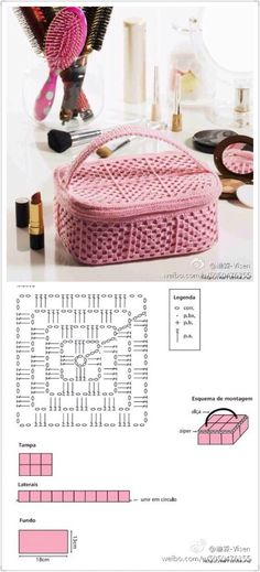 Crochet Bag Diagram Pattern Ganchillo 43 Ideas For 2019 Crochet Box, Crochet Pouch, Crochet Chart, Bead Crochet, Crochet Squares, Crochet Motif, Granny Squares, Crochet Granny, Crochet Purse Patterns