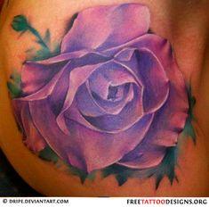 Purple rose tattoo