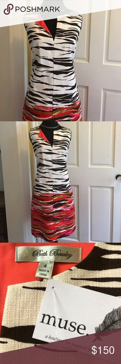 """NWT spring/summer dress Sz 4 - from small boutique Beautiful flattering cotton dress with lining.  Looks like linen.  Shoulder to hem about 35"""" Beth Bowley Dresses"""