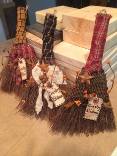 Hand brooms decorated Primitive Country!