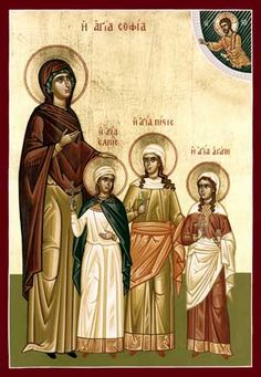 Sophia Mother of Faith Hope and Charity Feast day Sept 30 All 3 Daughters martyrs Feast day Aug 1 So sadden by her children's death after she buried them she stayed by the grave until she gave her self up to God Religious Icons, Religious Art, Mary Magdalene And Jesus, Christian Kids, Byzantine Icons, Orthodox Christianity, Three Daughters, Catholic Saints, Orthodox Icons