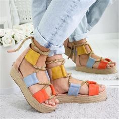 Roman Style Flat Wedge Lace-Up Sandals - gifthershoes Lace Up Sandals, Lace Up Heels, Wedge Sandals, High Heels, Trendy Sandals, Wedge Shoes, Strap Sandals, Casual Heels, Casual Sneakers