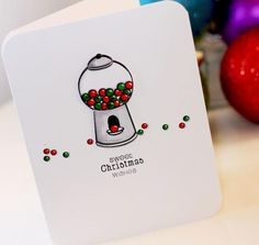 Sweet Christmas Wishes Stamped Card | Gumballs and Christmas? It works with this DIY Christmas card.
