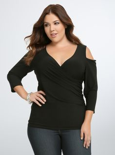Plus Size Cold Shoulder Surplice Top