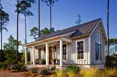 Tiny Farmhouse Cottage HGTV presents a low-country cottage designed to exude farmhouse charm through board-and-batten siding, simple landscaping and bucolic decor. Small Cottage House Plans, Small Cottage Homes, Small Cottages, Cabins And Cottages, Cottage Porch, Country Cottages, Cottage Style, Backyard Cottage, Farm Cottage