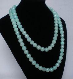 Superb 54inch Chinese Tibet Light Blue Jade Gemstone Beads Long Necklace