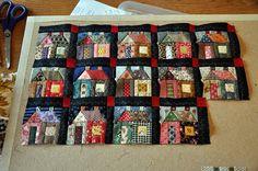 Love this quilt idea--Scraps made into house blocks buildinghousesfromscraps.blog