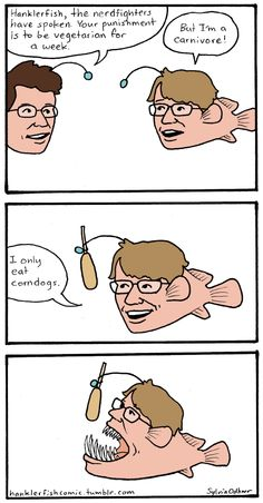 A comic I started about Hank and John Green, the Vlogbrothers, as Hanklerfish, for nerdfighters.