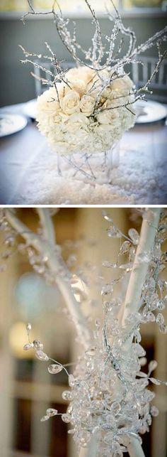 Winter Branch Table Centerpiece | Click Pic for 22 DIY Winter Wedding Ideas…