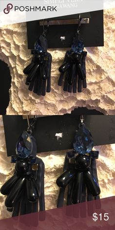 Simply Vera Vera Wang blue and black earrings Simply Vera Vera Wang blue stone earrings have black dangles.  So pretty❤️ Simply Vera Vera Wang Jewelry Earrings