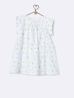 BABY'S PRINT BOAT NECK DRESS - Fruits white background print - 3
